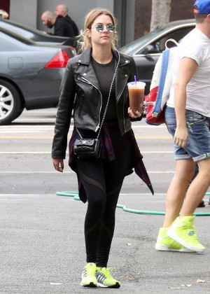 Ashley Benson in Tights Gets a coffee in West Hollywood