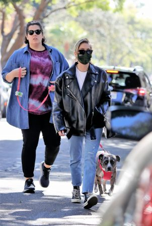 Ashley Benson - In an oversized leather jacket and jeans in West Hollywood