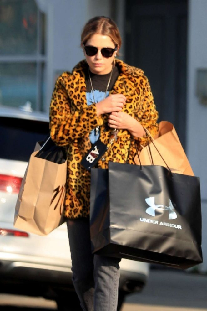 Ashley Benson in Animal Print Jacket - Shopping in Beverly Hills