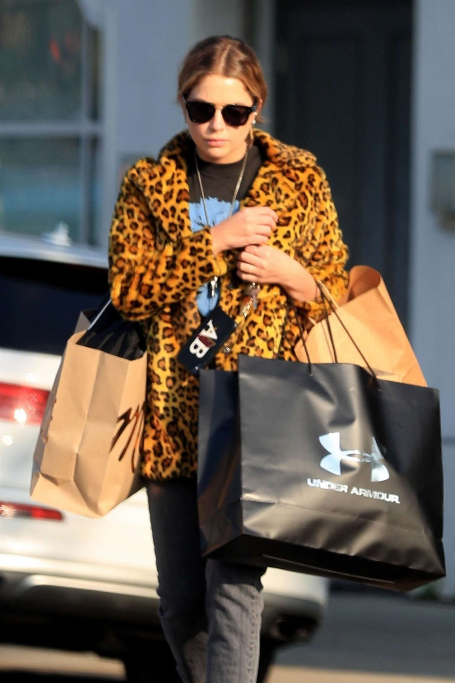 Ashley Benson in Animal Print Jacket – Shopping in Beverly Hills