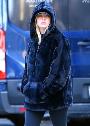 Ashley Benson in Black Coat and Tights - Out and about in NYC