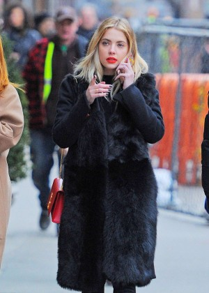 Ashley Benson in Black Coat out in New York City