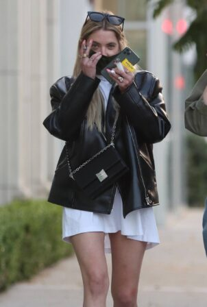 Ashley Benson - In black rocknroll leather jacket at Zinque restaurant in West Hollywood
