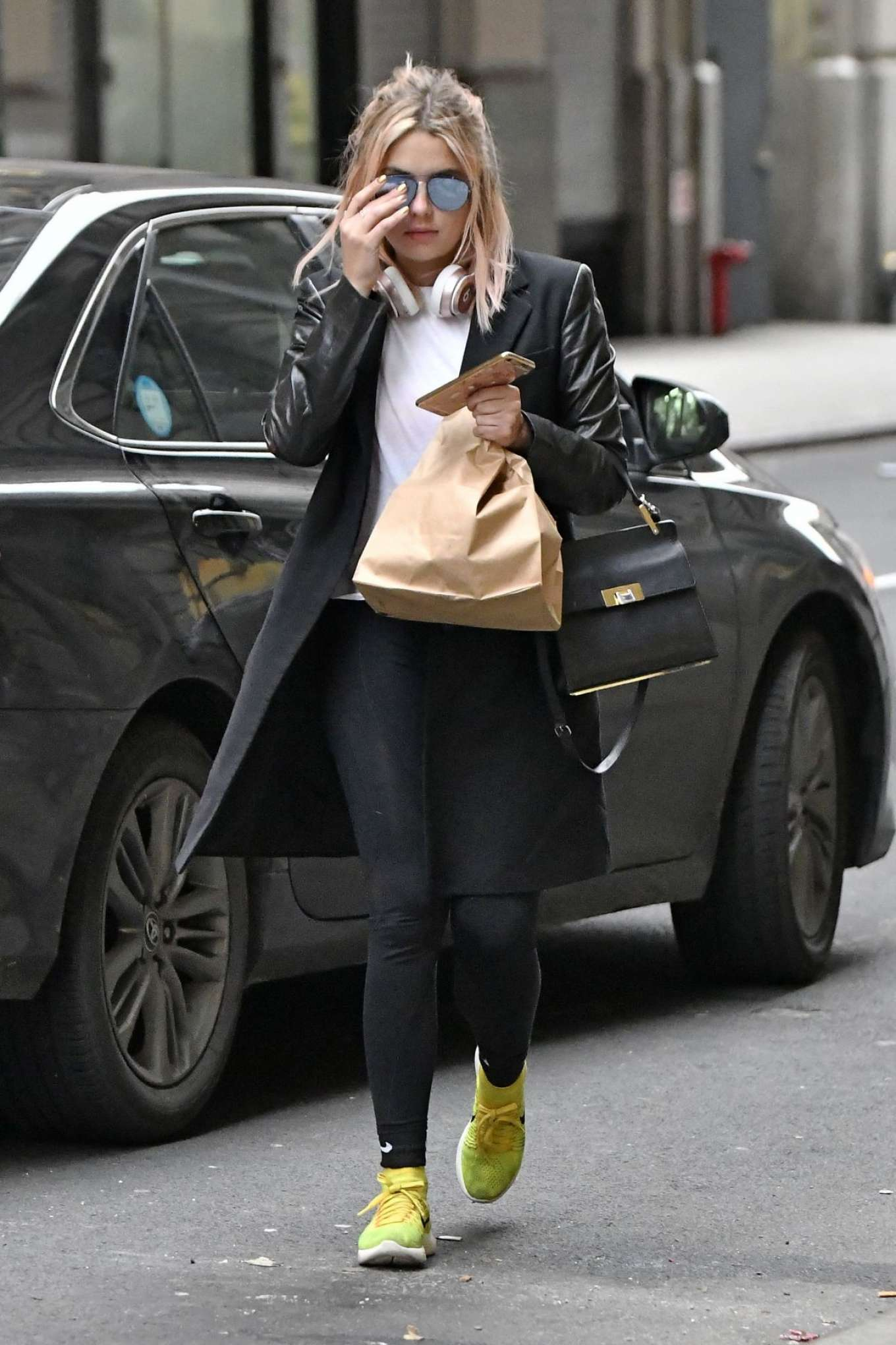 Ashley Benson in Black Tights Out in New York