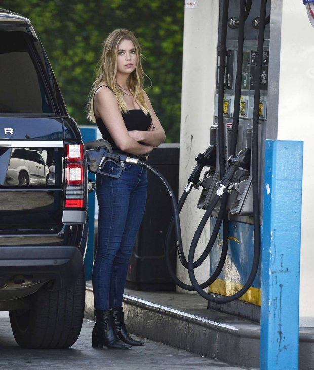 Ashley Benson in Black Top and Jeans -01