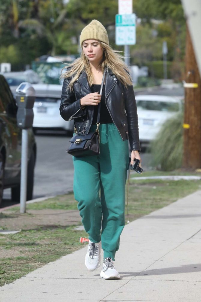 Ashley Benson in Green Sweatpants -01