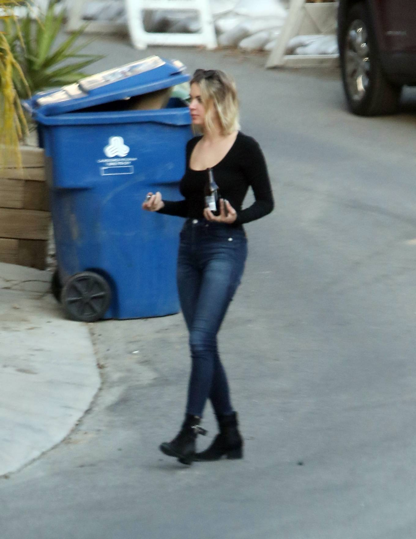 Ashley Benson in Jeans with G-Eazy - Out in Los Angeles