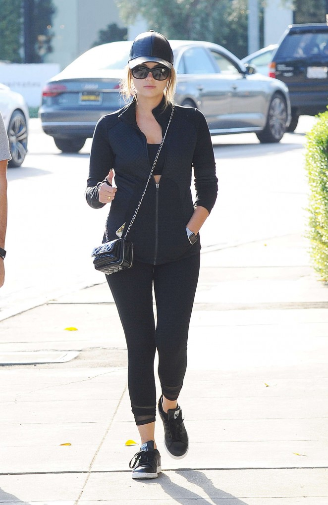 Ashley Benson in Leggings out and about in LA
