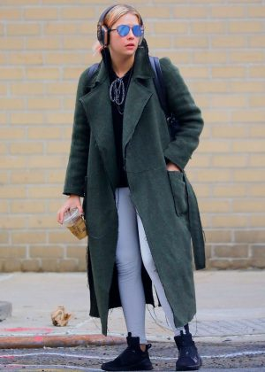 Ashley Benson in Long Coat Leaves the gym in New York City