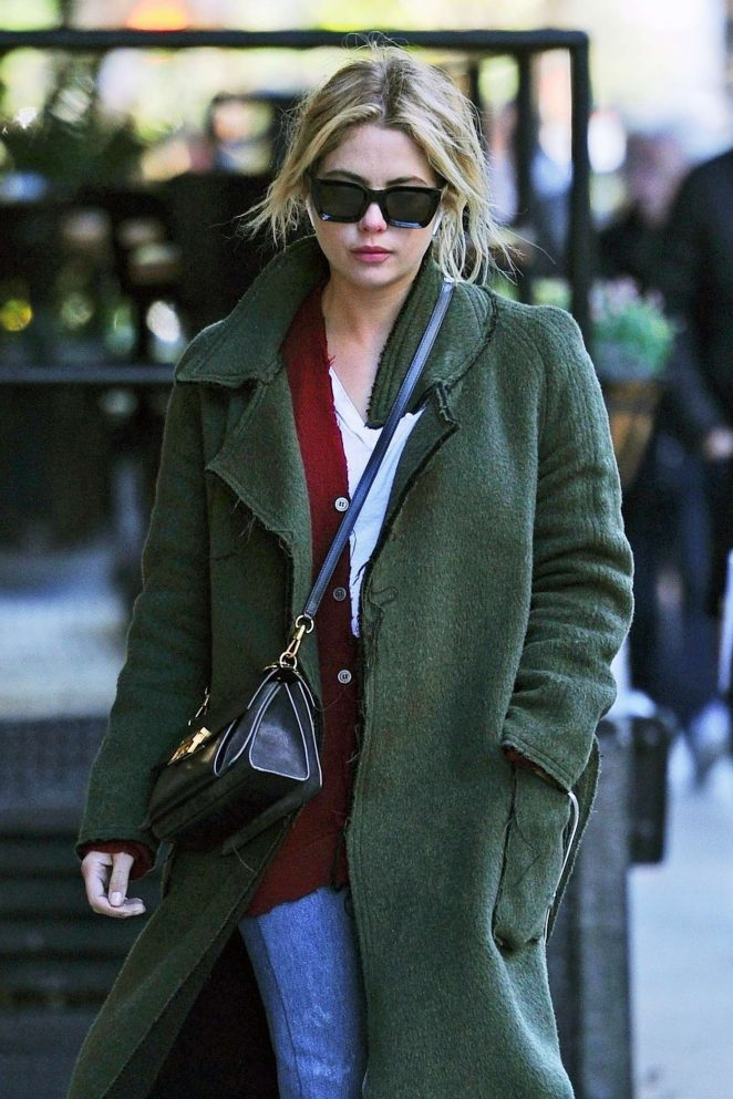Ashley Benson in Long Coat - Out and about in NYC