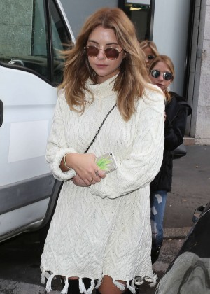 Ashley Benson in Mini Dress Shopping in Milan