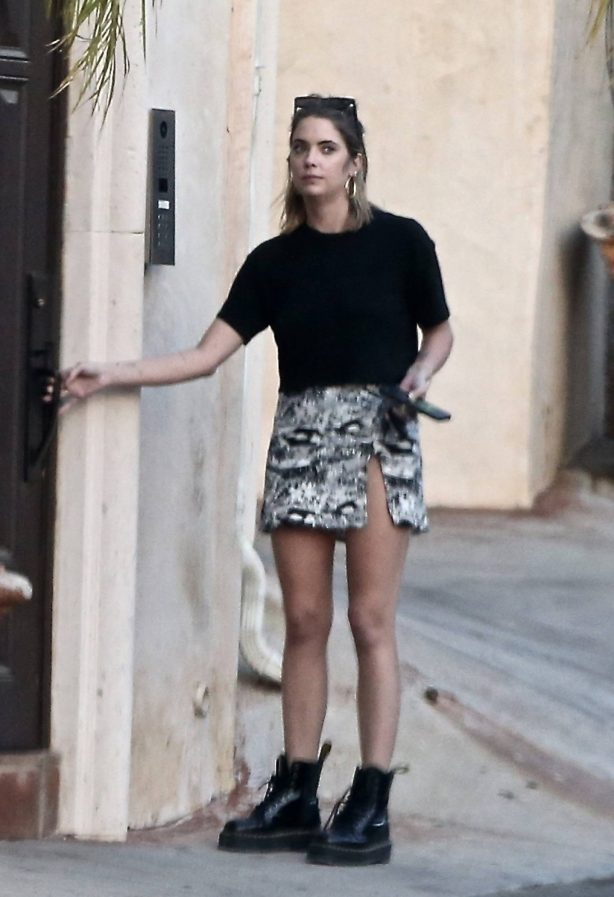 Ashley Benson - In pencil mini skirt outside her home in Los Feliz