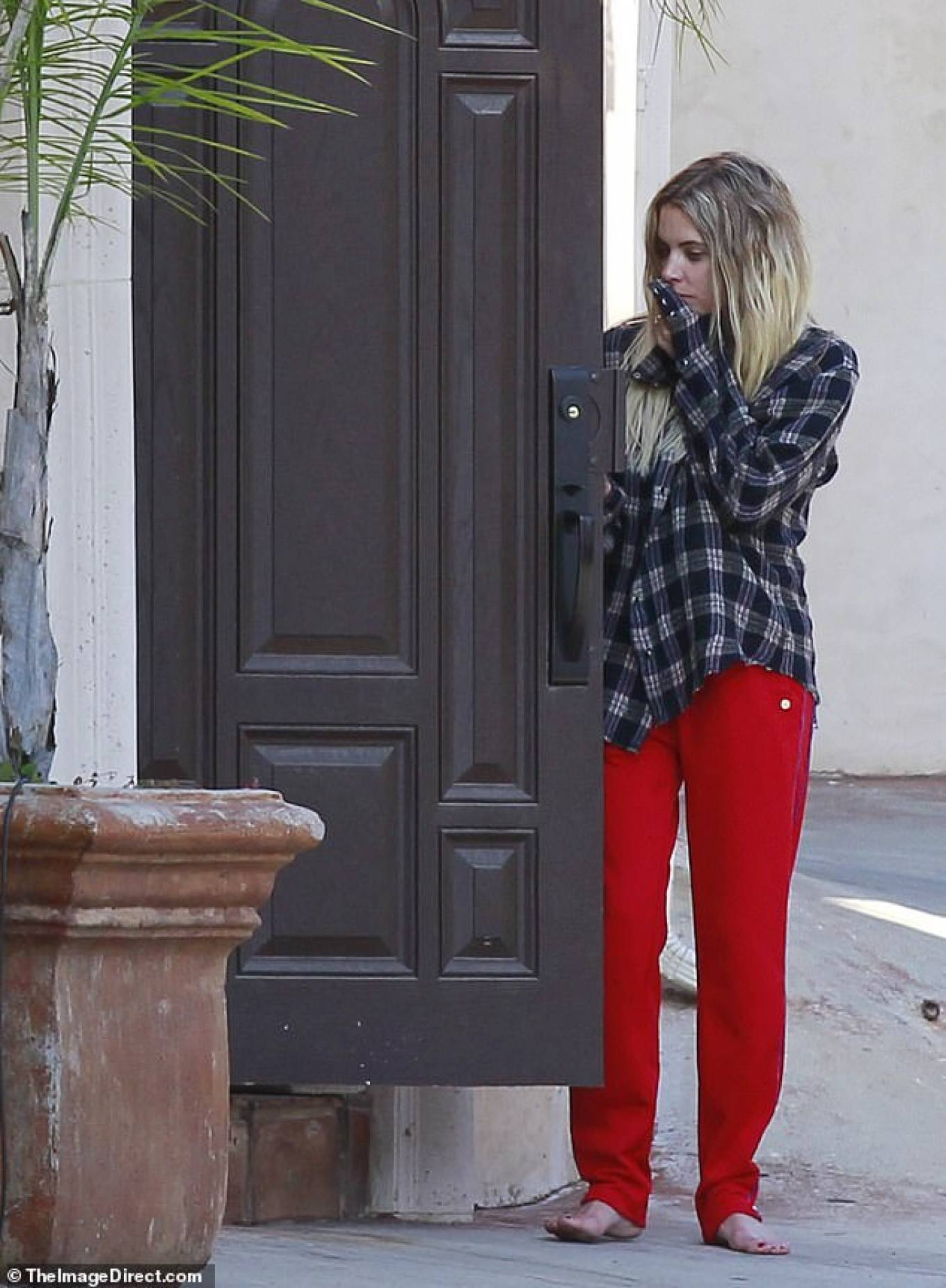 Ashley Benson in Red Pants - Outside her boyfriends place in Los Angeles
