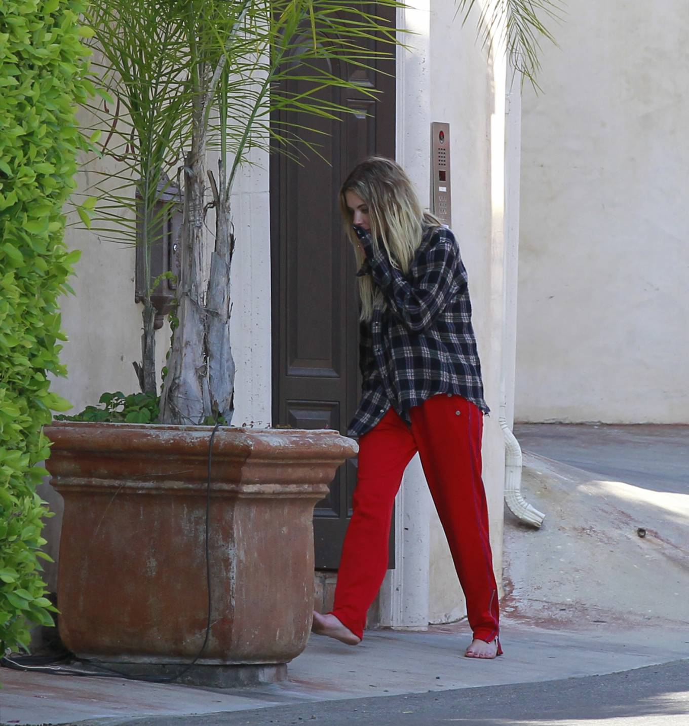 Ashley Benson 2020 : Ashley Benson in Red Pants – Outside her boyfriends place in Los Angeles-08