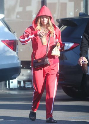 Ashley Benson in Red Tracksuit - Out in LA