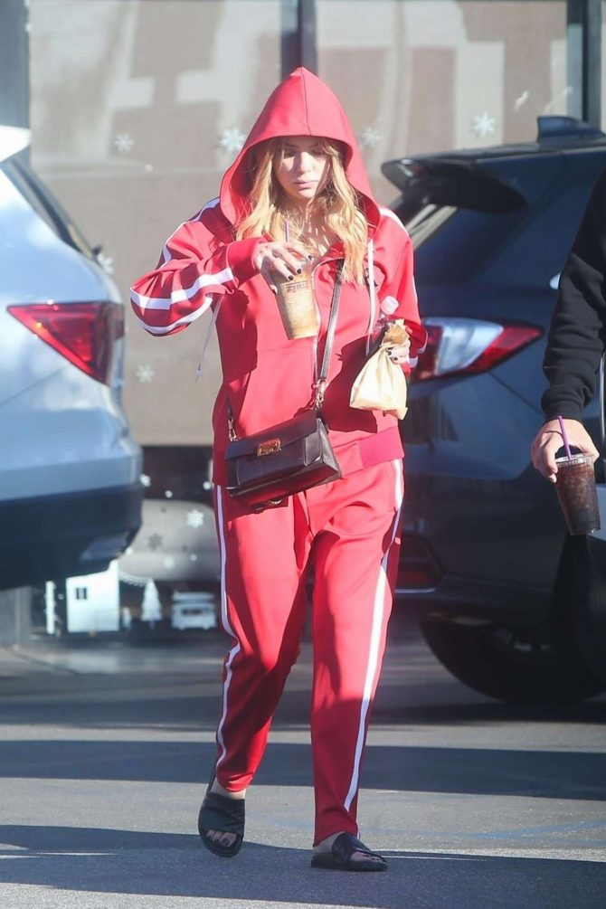 Ashley Benson in Red Tracksuit – Out in LA