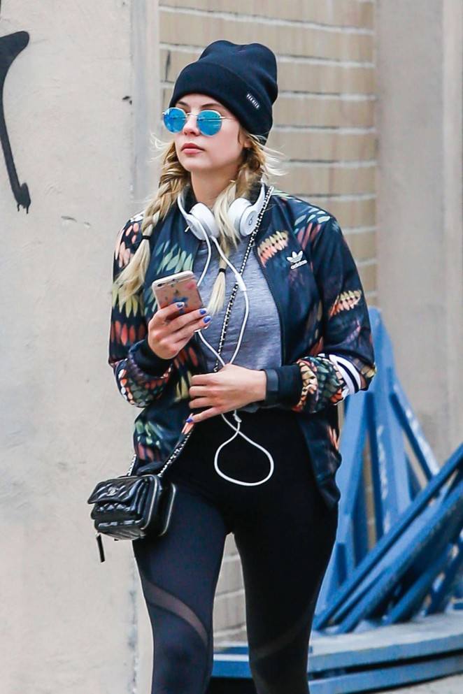 Ashley Benson in Tight Leggings Out in NYC