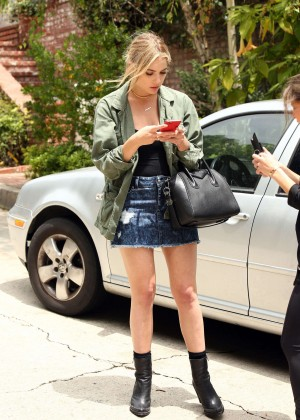 Ashley Benson in Jeans Skirt Out in Beverly Hills
