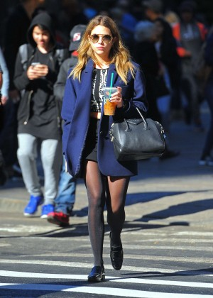 Ashley Benson in Mini Skirt Out in NYC