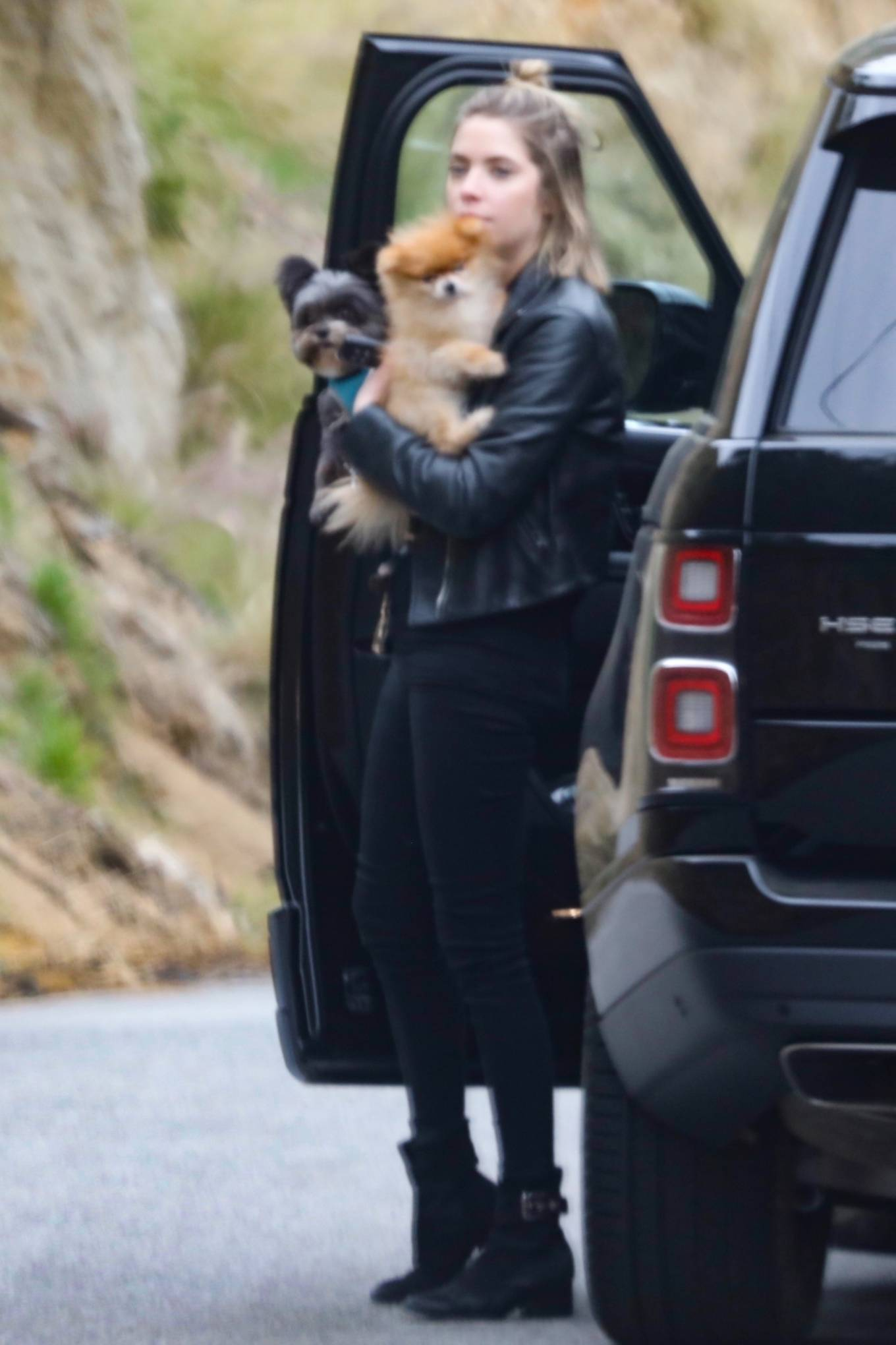 Ashley Benson - Out with her puppies in Malibu
