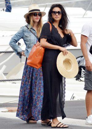 Ashley Benson, Shay Mitchell and Troian Bellisario on a boat in Capri -07