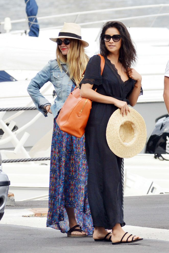 Ashley Benson, Shay Mitchell and Troian Bellisario on a boat in Capri -08