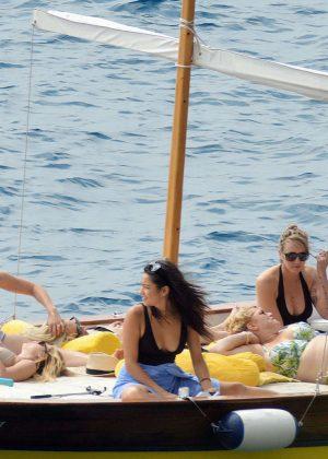 Ashley Benson, Shay Mitchell and Troian Bellisario on a boat in Capri -16