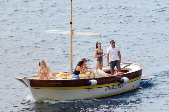 Ashley Benson, Shay Mitchell and Troian Bellisario on a boat in Capri -31