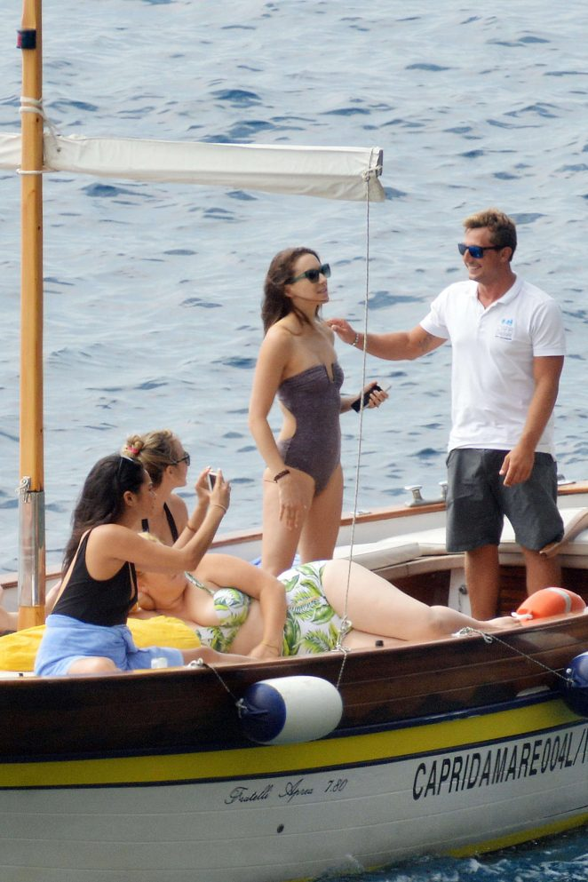 Ashley Benson, Shay Mitchell and Troian Bellisario on a boat in Capri -34