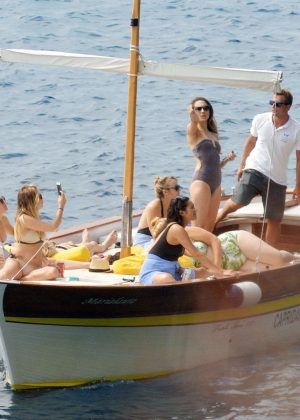 Ashley Benson, Shay Mitchell and Troian Bellisario on a boat in Capri