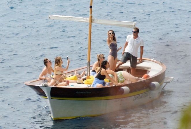 Ashley Benson, Shay Mitchell and Troian Bellisario on a boat in Capri -36