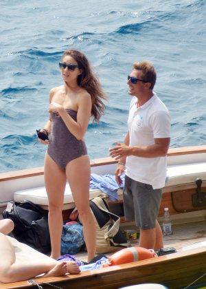 Ashley Benson, Shay Mitchell and Troian Bellisario on a boat in Capri -48