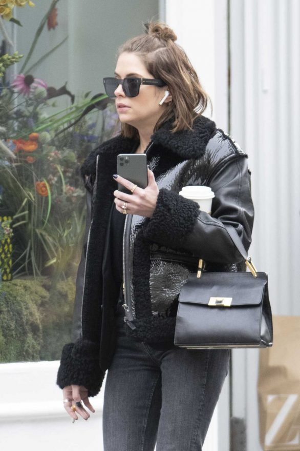 Ashley Benson shows off her new short brown haircut in Soho