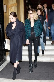 Ashley Benson with Cara Delevingne and Kaia Gerber - Seen leaving Hotel Costes in Paris