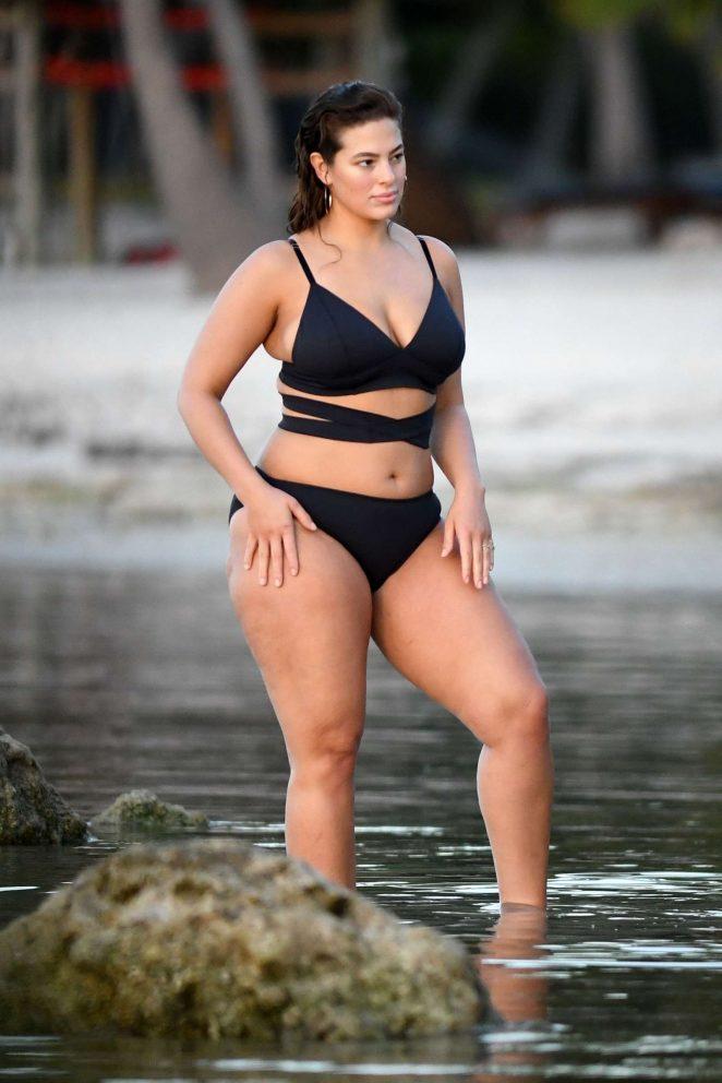Ashley Graham in Black Bikini Photoshoot in Islamorada
