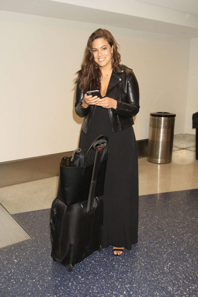 Ashley Graham in Black Dress at LAX Airport in Los Angeles