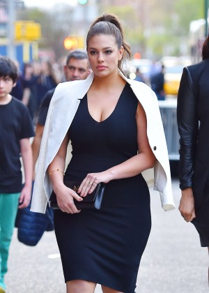 Ashley Graham in Black Dress Out in Manhattan