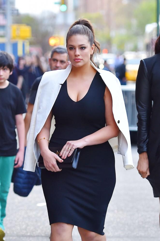 Ashley Graham in Black Dress Out in Manhattan