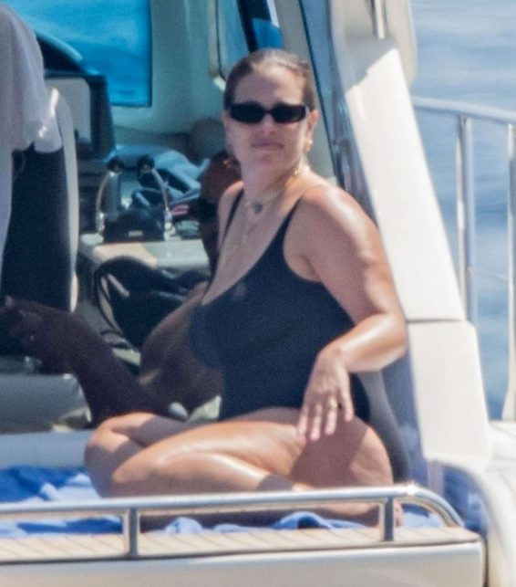 Ashley Graham in Black Swimsuit on holiday in Nerano