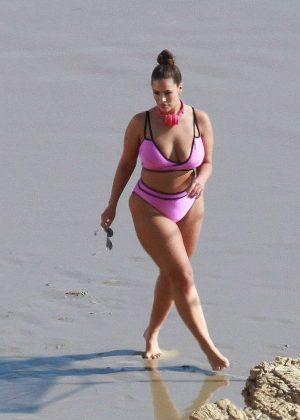 Ashley Graham in Pink Bikini on the beach in Los Angeles