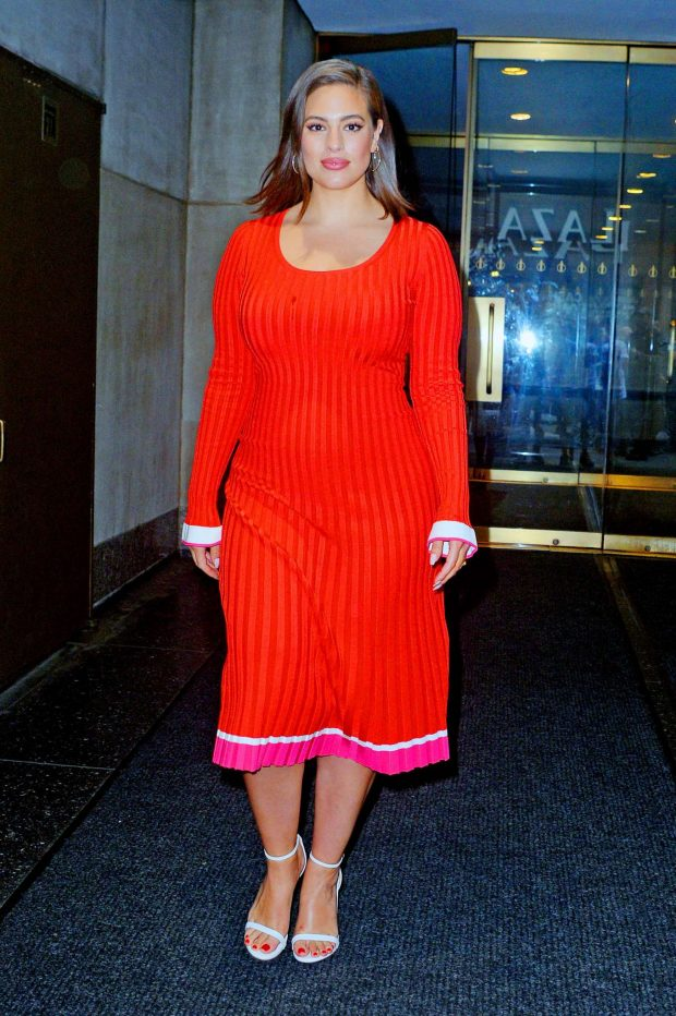 Ashley Graham in Red Dress - Leaving the Today show in New York