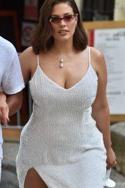 Ashley Graham in White Dress - Arrives at Hotel La Mirande in Avignon