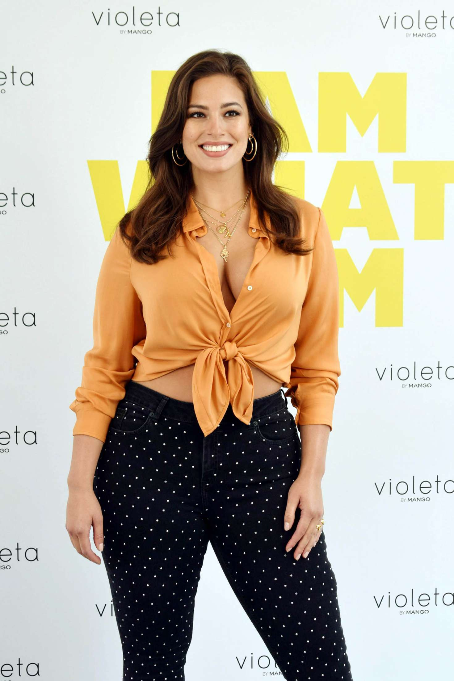 Ashley Graham – Promoting new Line Violeta From Mango Clothes in Madrid