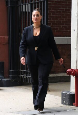 Ashley Graham - spotted exiting the CBS offices in New York