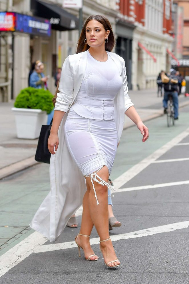 Ashley Graham visiting Indochine Restaurant in Soho