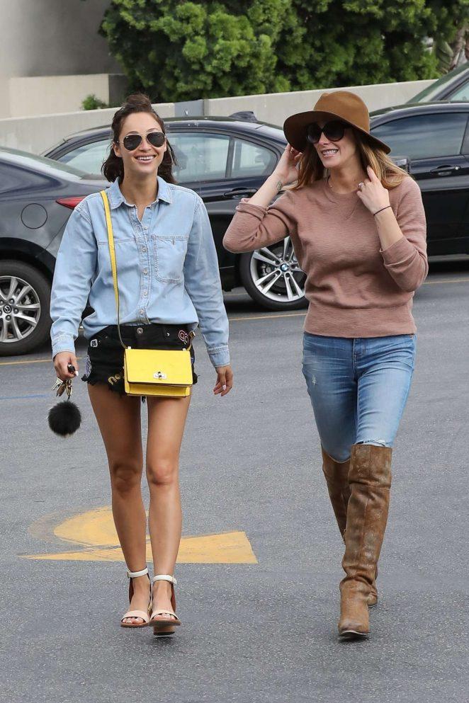 Ashley Greene and Cara Santana at a nail salon in Los Angeles