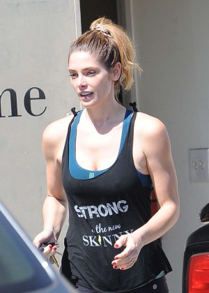 Ashley Greene goes to the gym in LA