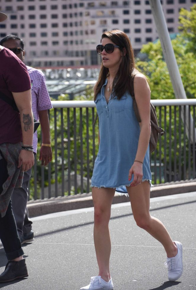 Ashley Greene in Blue Mini Dress out in Sydney