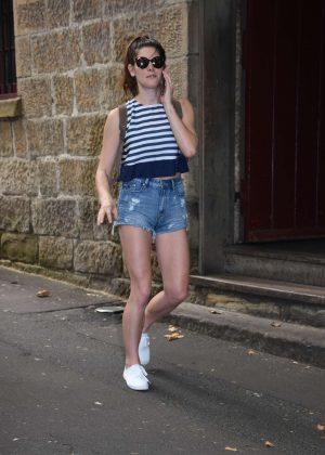 Ashley Greene in Denim Shorts at Sake Restaurant in Sydney