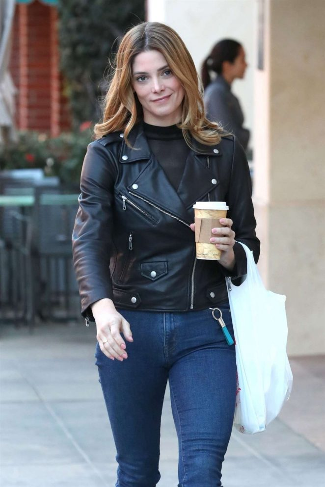 Ashley Greene in Jeans and Leather Jacket out in Beverly Hills